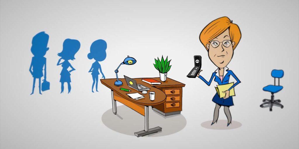 illustration d'une femme dans un bureau pour le film en motion design d'Amont Sens Conseil