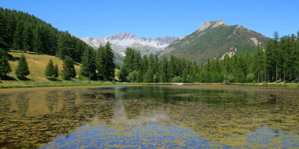 montagnes lac et forêts, l'été dans un parc naturel des Hautes-Alpes