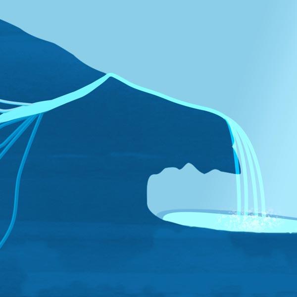 illustration pour le motion design de la forme rocheuse de la fontaine pétrifiante de Réotier