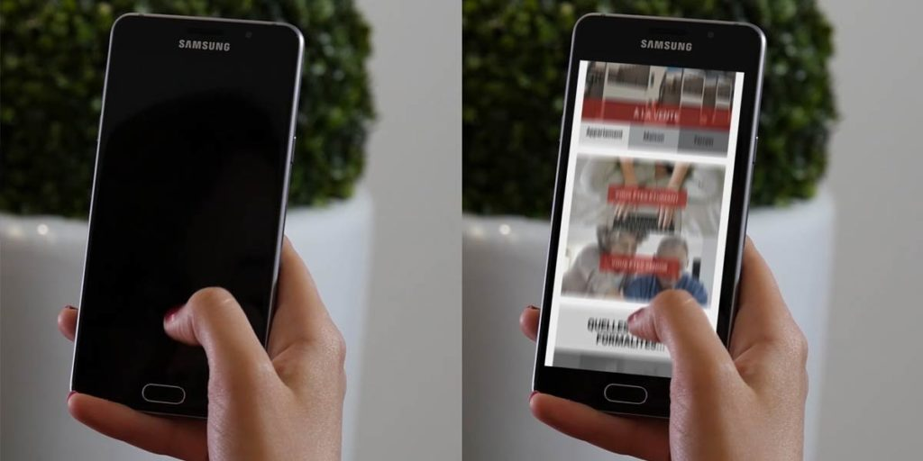 incrustation d'une vidéo sur un téléphone portable éteint : avant et après